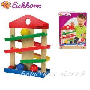 Eichhorn Дървена къща - ролбан с 3 топчета - 2025