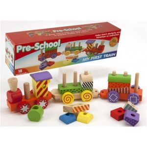 Wooden Pull Along Train + 2 Carriages & Blocks Baby Toddler Pre-school Toy Gift