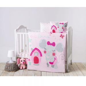 Детски спален комплект Kikka Boo, Pink House,4 части, Ранфорс 240705
