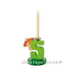 SEVI Стойка дървена със свещичка Birthday парти аксесоар номер 5 - 81905