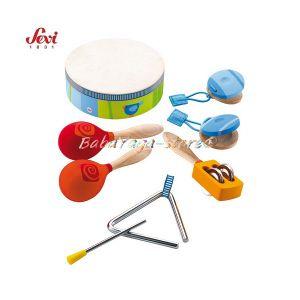 Музикална дървена играчка - Ударни инструменти с марката Sevi - 82014 Percussion set