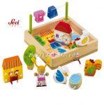 Дървена игра - Ферма с триизмерни фигурки с марката Sevi - 81676