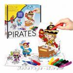 Рисувателен комплект ПИРАТИ за сглобяване с флумастери Pirates Creative set colour pencils 1005
