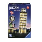 Ravensburger 3D ПЪЗЕЛ Световни забележителности: Светеща Наклонена кула Пиза, Pisa Night Edition, 12515