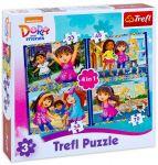 Trefl Пъзел Дора и Приятели 4в1 (207ч.), Dora and Friends Trefl puzzle, 34265