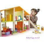 КЪЩА за Кукли от дърво обзаведена с мебели голяма от Sevi - 82383